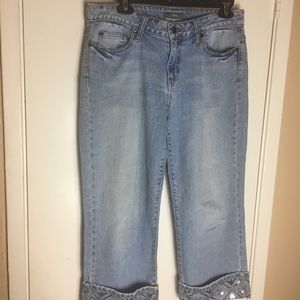 Apt. 9 Cropped Jeans w/ Sequined Cuffs